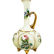Antique Bohemian Lobmeyr opaline glass Ewer or Pitcher hand painted enamel flowers