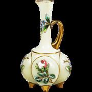 Antique Bohemian Lobmeyr opaline glass Ewer or Pitcher hand painted enamel flowers