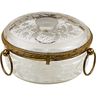 XL Antique French Baccarat clear crystal hinged jewelry Box gilt bronze mounts