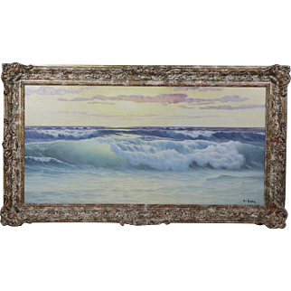 French original oil on canvas Seascape Painting art work signed Ed.Mandon 1885-1977