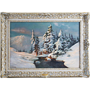 Antique original oil on canvas Winter landscape Painting art signed E.Barkoff