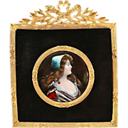 Antique French painting enamel on copper miniature portrait in bronze dore frame