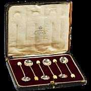 Set 6 Sterling Silver tea bean coffee spoons in box by H & H Goldsm Birmingham