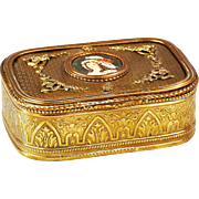 Antique French gilded Bronze hinged Box casket hand painted Miniature Portrait