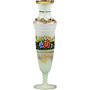 """10.5""""h Bohemian white opaline glass Vase with gold accents and red glass jewels"""