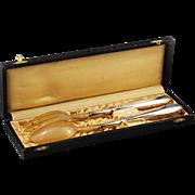 Antique French Art Deco sterling silver handles bone serving set Spoon Fork Box
