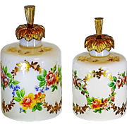 Pair Antique French opaline crystal glass gilded bronze Perfume Bottles R.Noirot