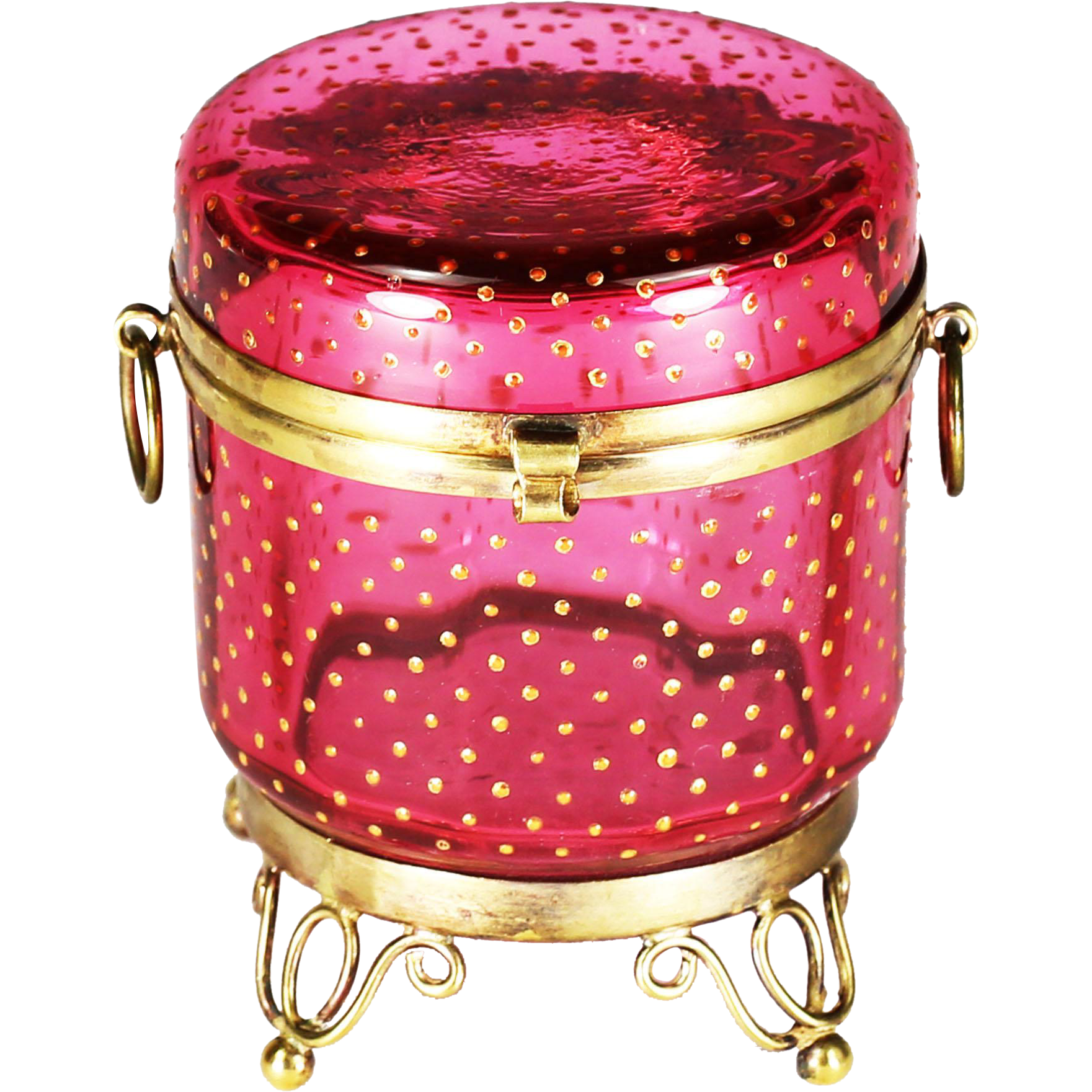 Antique French cranberry art glass gilt bronze hinged trinket BOX