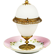 Antique French white opaline gilt ormolu hinged Egg on porcelain dish plate