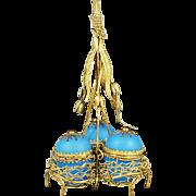 Antique French blue opaline glass triple egg box ormolu Palais Royal souvenir