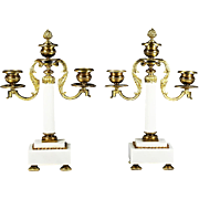 Pair Antique French Napoleon era gilt bronze & marble Candle holders or Candelabras
