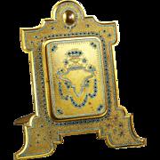 """12"""" Antique Austria Wien A.Klein gilt bronze jewelled Picture Frame & Mirror"""