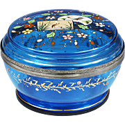 "7"" Antique Moser Bohemian aqua blue glass Box chinoiserie enamelled bird flower"