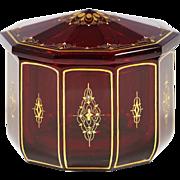 Bohemian Garnet- Granat or dark Ruby glass Box