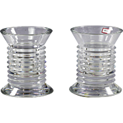 Pair of Baccarat France Lalande clear crystal Pencil Holders or Vases