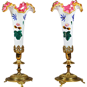 "11""H Pair Antique French white opaline overlay w/ pink glass Vases gilt ormolu base"