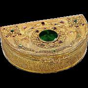 "9"" Antique E&JB Empire Art Gold Jewelled trinket or jewelry ormolu Box"