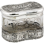 Large Antique German Hanau 800 silver and etched crystal glass hinged Box Casket