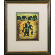 Pastel drawing by Polish Israeli artist Simon Natan KARCZMAR 1903-1982