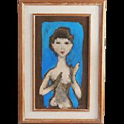 Polish artist Eliasz Kanarek 1901-1969 encaustic on masonite painting midcentury