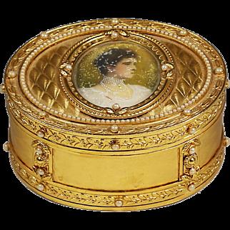 Antique bronze dore jewelry Box w/ miniature portrait of Russian Queen - Tsarina Alexandra Feodorovna