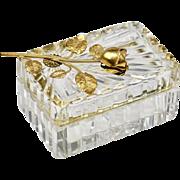 Vintage French cut lead clear Crystal hinged trinket or jewelry BOX, ormolu Rose