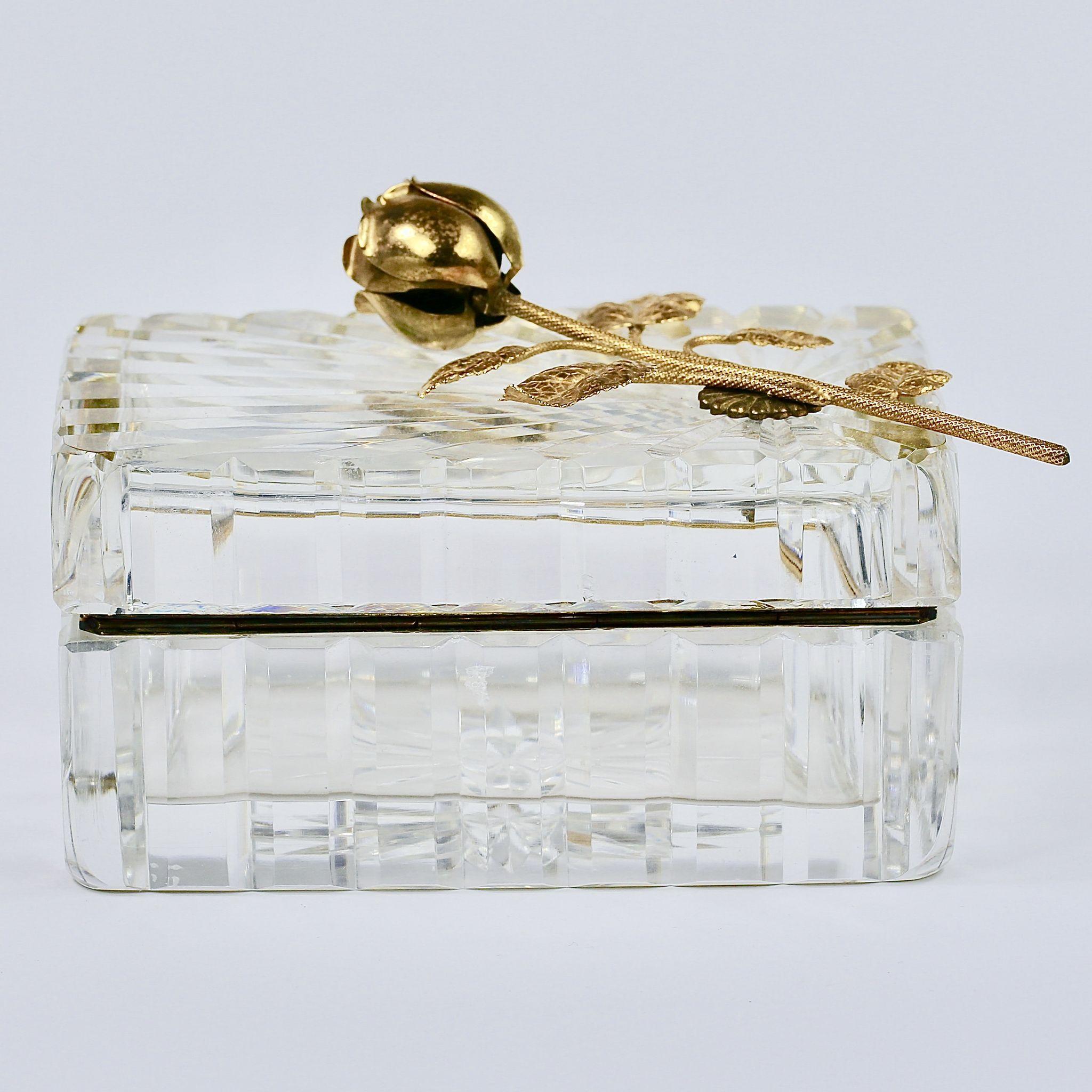 Vintage French Cut Lead Clear Crystal Hinged Trinket Or