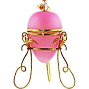 Antique French Pink Opaline & Gilt Ormolu Egg Box, Perfume Bottle holder