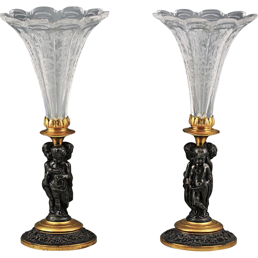 Pair French Antique Patinated Gilt Bronze Vases with Cherubs Putti