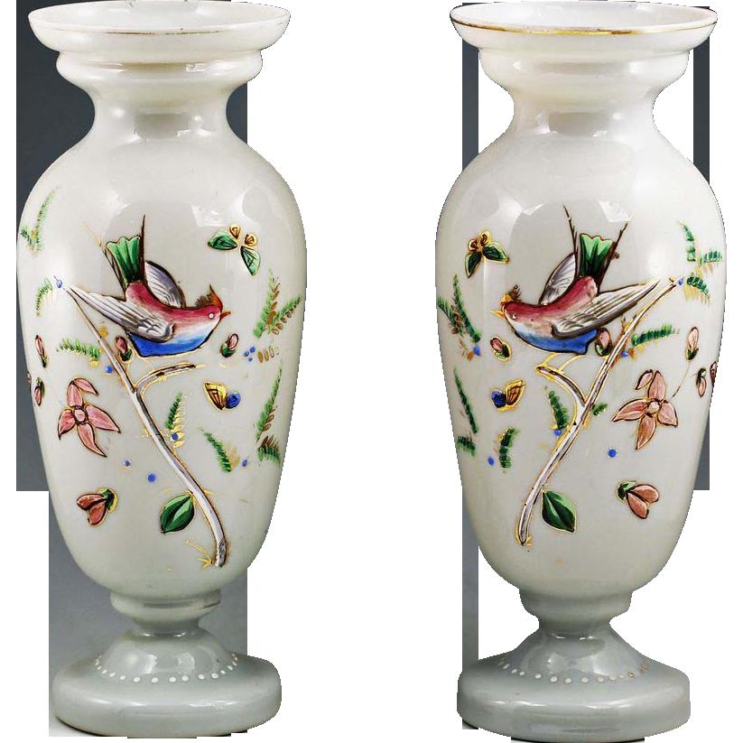 Pair 11 Quot Antique Hand Blown Enameled Opaline Art Glass