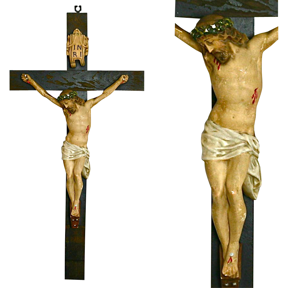 "28"" Antique Hand Painted Sculpture Jesus on Wood cross Crucifix"