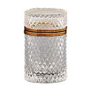 French clear crystal glass Box, hinged lid, ormolu mounts, diamond point design