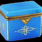 French brilliant blue opaline crystal glass Trinket Box Casket, hinged lid