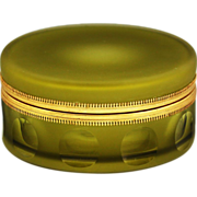 "6"" Italian olive green glass trinket Box, ormolu mounts, hinged lid"