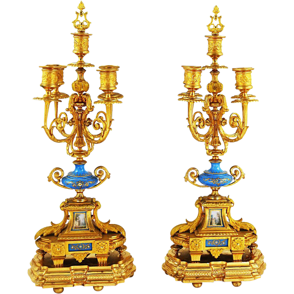 Pair Antique French Empire gilded bronze 5 light Candelabras