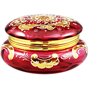 Antique Bohemian Moser cranberry enameled glass hinged Box