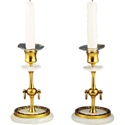 Pair of antique French bronze dore champleve white onyx Candlesticks candle holders