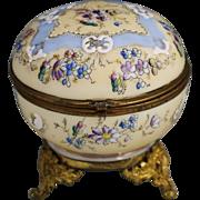 Antique Victorian era enameled opaline glass hinged trinket or powder Box