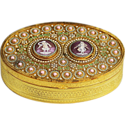 Antique Austrian gilded enameled bronze Box, with cameos and jewels