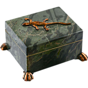 Russian Natural green stone Trinket Box with Bronze Lizard & Hinged Lid