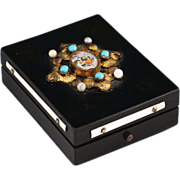 French antique ebonized wood Box with gilded ormolu leafs and jewels