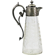 Antique German silver & etched glass jug decanter with hinged lid