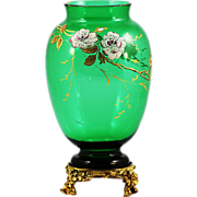 Antique French Baccarat Chinoiserie emerald green crystal glass Vase