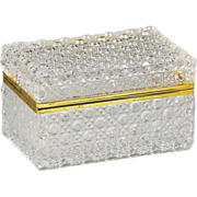French clear crystal glass trinket or jewelry Casket Box