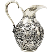 Large vintage Spanish sterling silver Grape repousse wine or water Jug, Pitcher