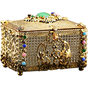 Vintage mid century trinket Casket jeweled gilded brass, hinged lid