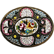 Vintage Italy Micro Mosaic Millefiori Flower Floral Brooch Pin