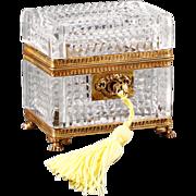 French cut crystal Jewelry Casket Box gilt Bronze Mounts working Lock & original Key