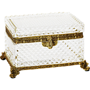 French clear crystal glass trinket or jewelry casket with hinged lid