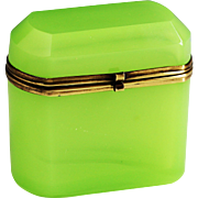 Antique French chartreuse green vaseline glass Casket of Box with hinged lid